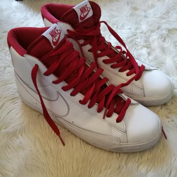 white nike high tops red swoosh